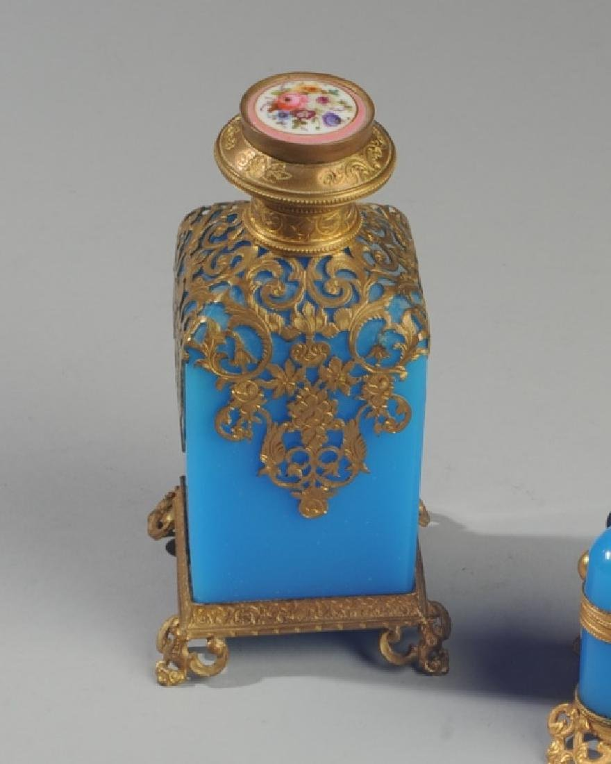 19th C French Blue Opaline Scent Box & Bottle - 2