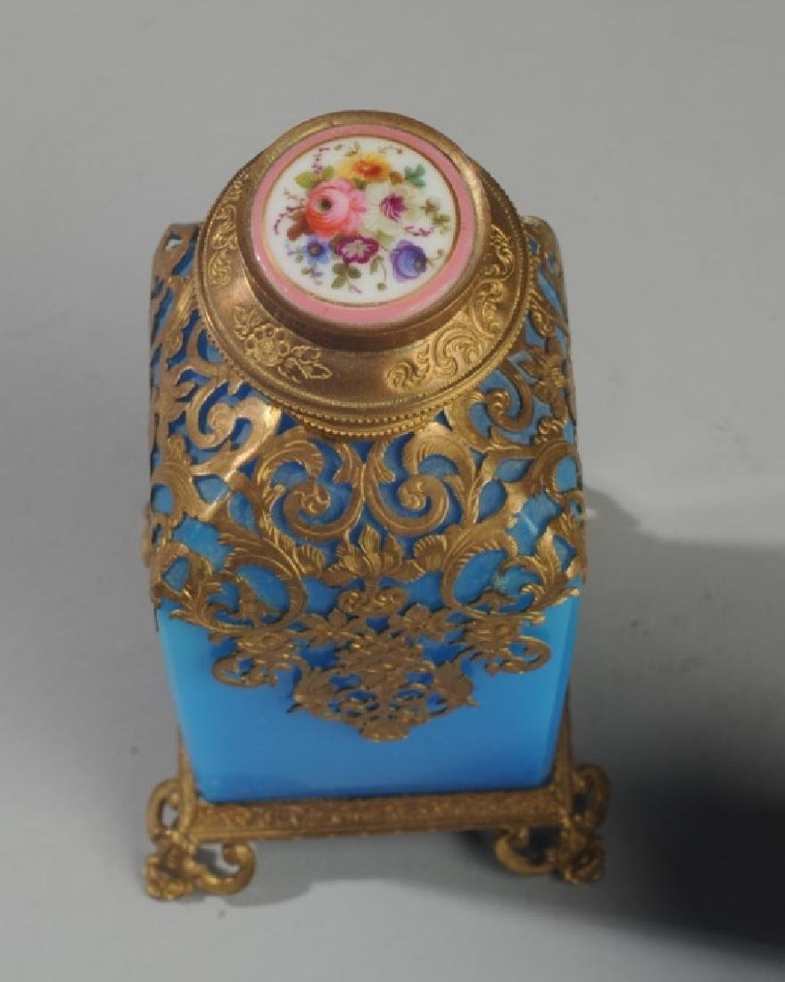 19th C French Blue Opaline Scent Box & Bottle - 3