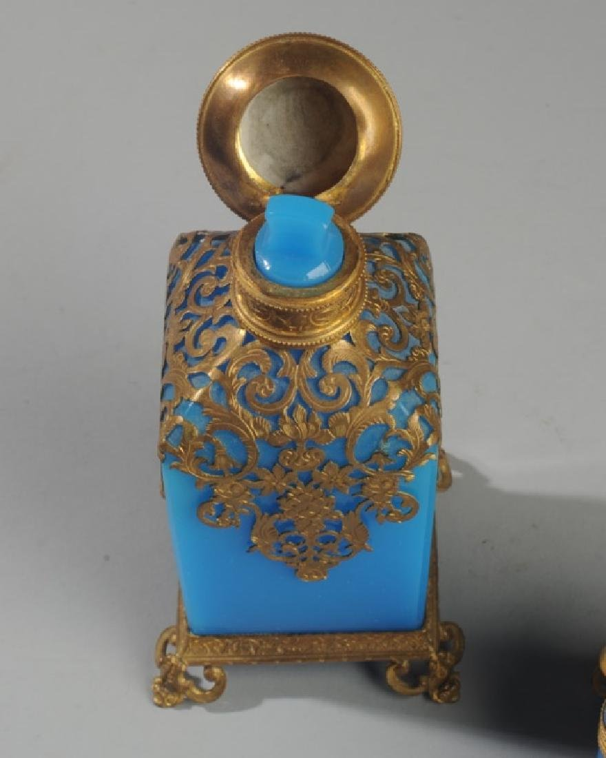 19th C French Blue Opaline Scent Box & Bottle - 4