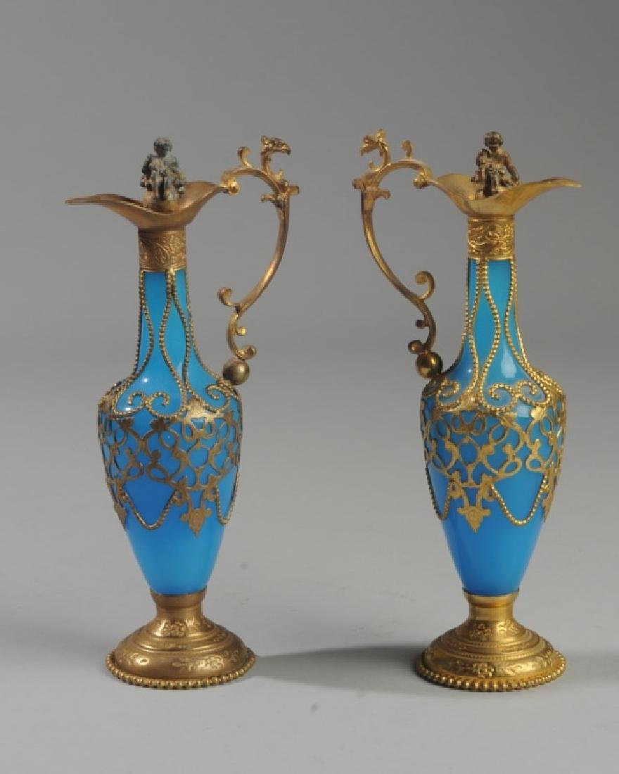 Pair Antique French Blue Opaline Perfume Bottles