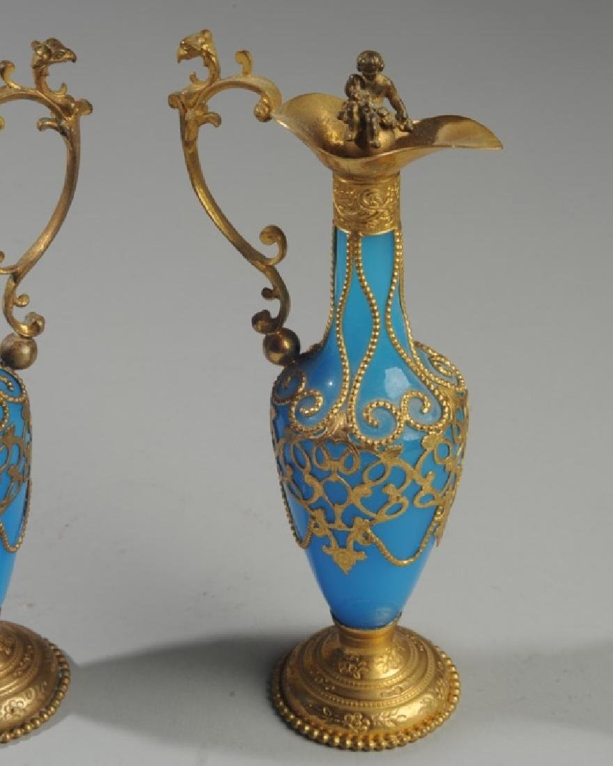 Pair Antique French Blue Opaline Perfume Bottles - 2
