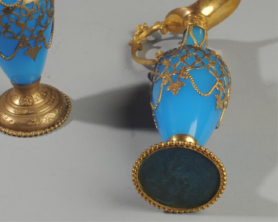 Pair Antique French Blue Opaline Perfume Bottles - 5