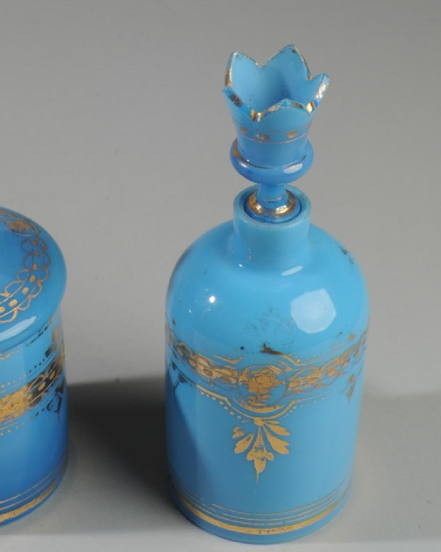 19th C French Blue Opaline Rose Water Bottles - 2