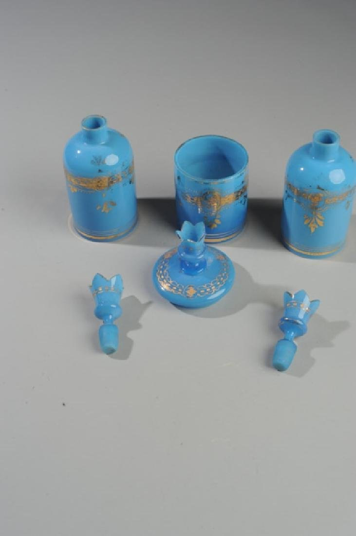 19th C French Blue Opaline Rose Water Bottles - 3