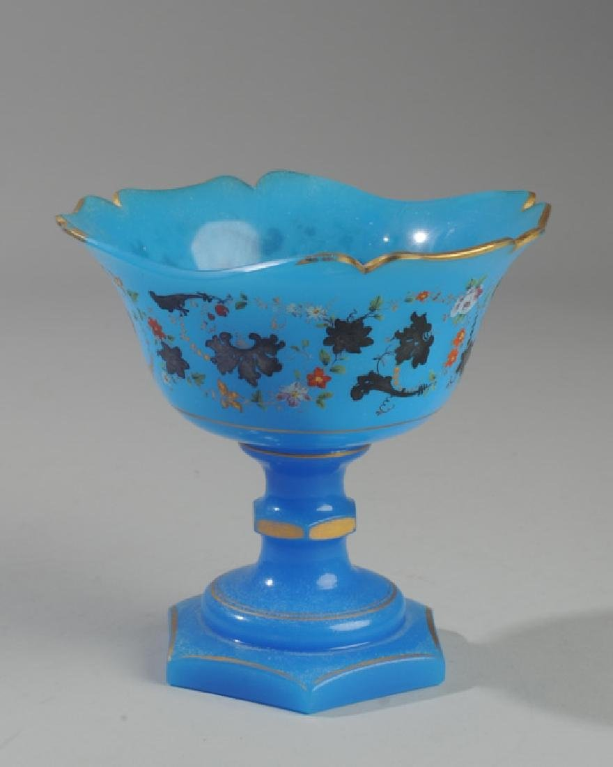 Mid 19th C. French Blue Opaline Compote