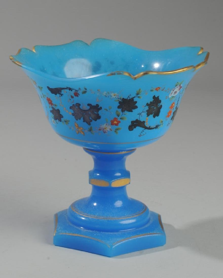 Mid 19th C. French Blue Opaline Compote - 2