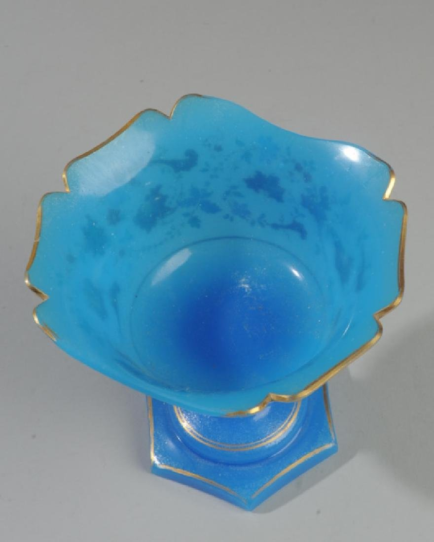 Mid 19th C. French Blue Opaline Compote - 3