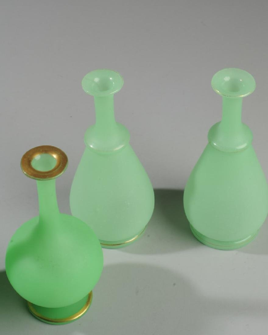Two Pairs 19th C. French Opaline Green Glass Vases - 2