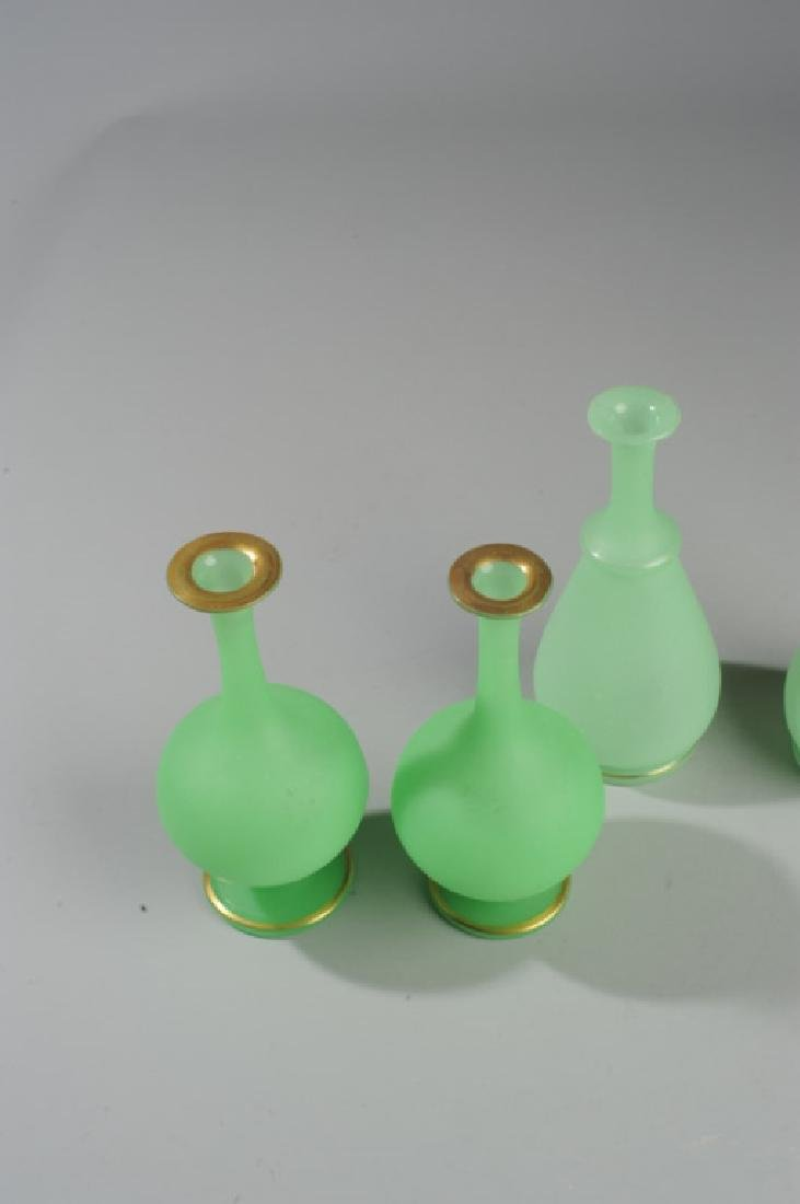 Two Pairs 19th C. French Opaline Green Glass Vases - 3