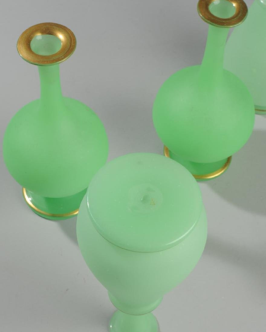 Two Pairs 19th C. French Opaline Green Glass Vases - 5