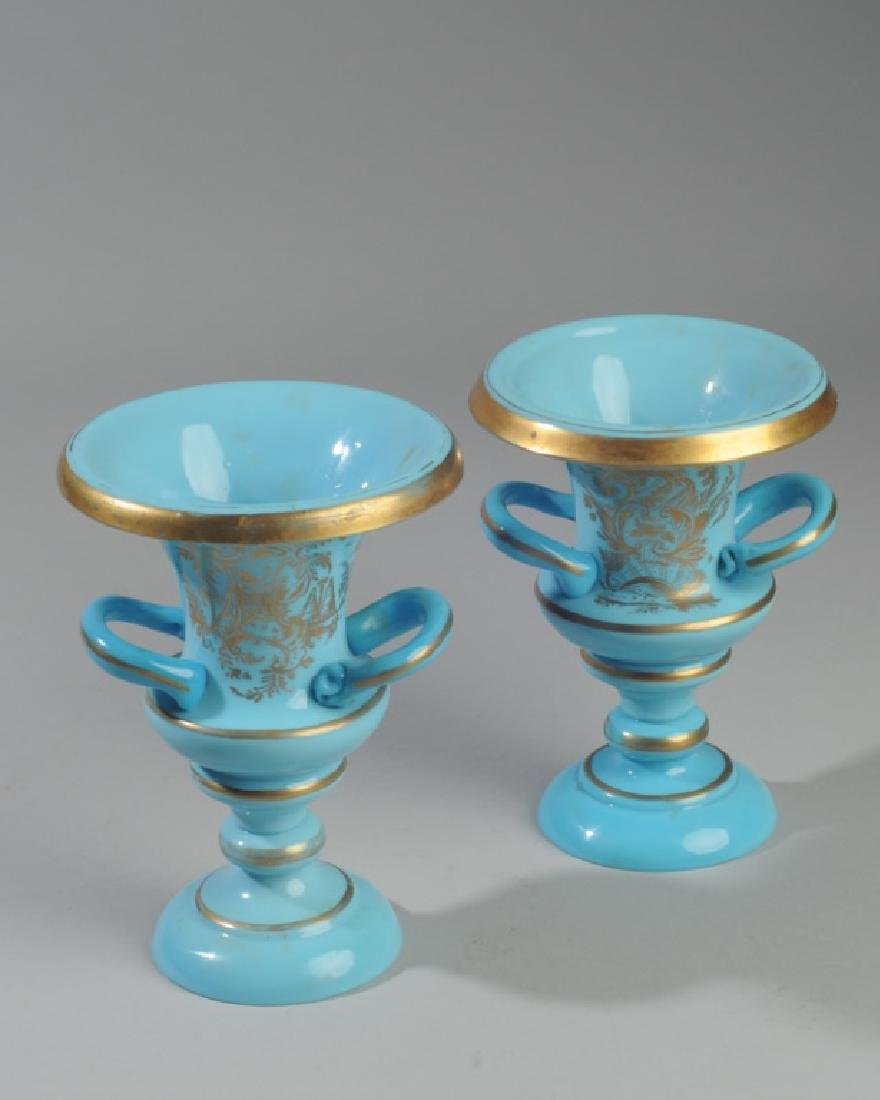 Pair of Antique French Opaline Blue Glass Vases