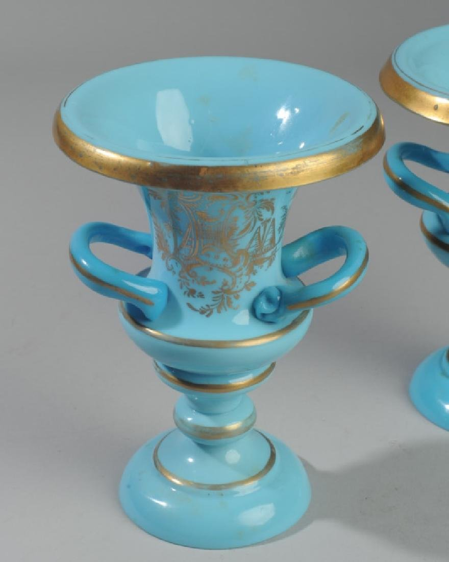 Pair of Antique French Opaline Blue Glass Vases - 4
