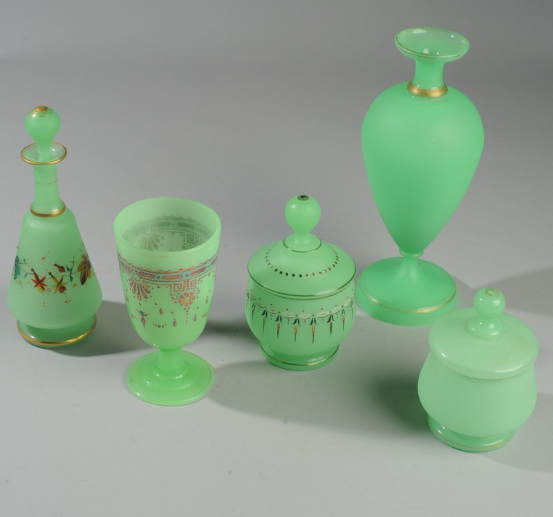 Lot of Gently Loved French Opaline Green Glass