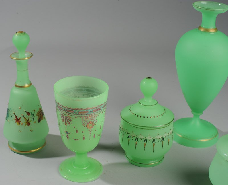 Lot of Gently Loved French Opaline Green Glass - 2