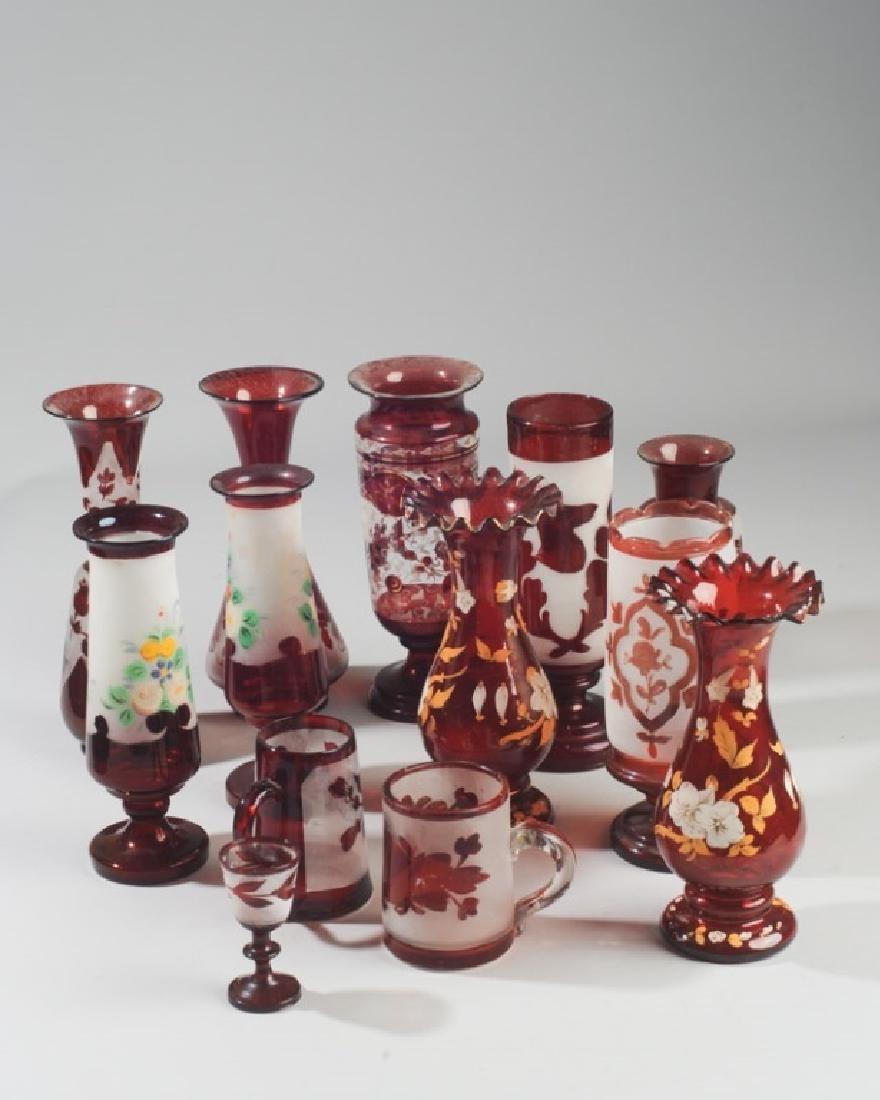 Lot of Antique Bohemian Ruby Glass Vases etc.