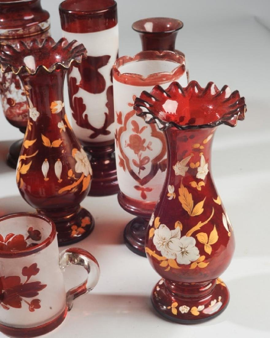 Lot of Antique Bohemian Ruby Glass Vases etc. - 2