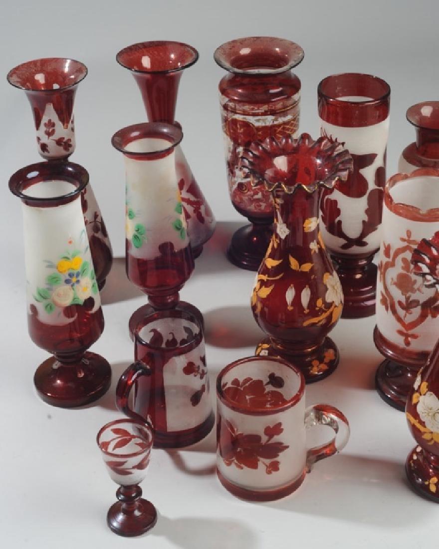Lot of Antique Bohemian Ruby Glass Vases etc. - 4