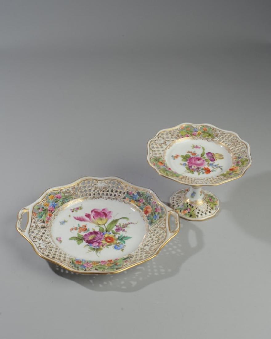 3 Pc. Carl Thieme Dresden Reticulated Porcelain
