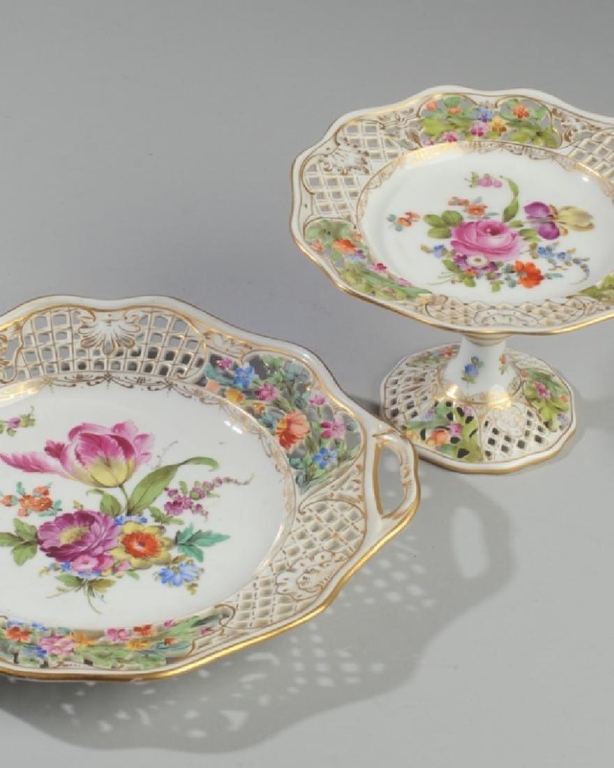 3 Pc. Carl Thieme Dresden Reticulated Porcelain - 2