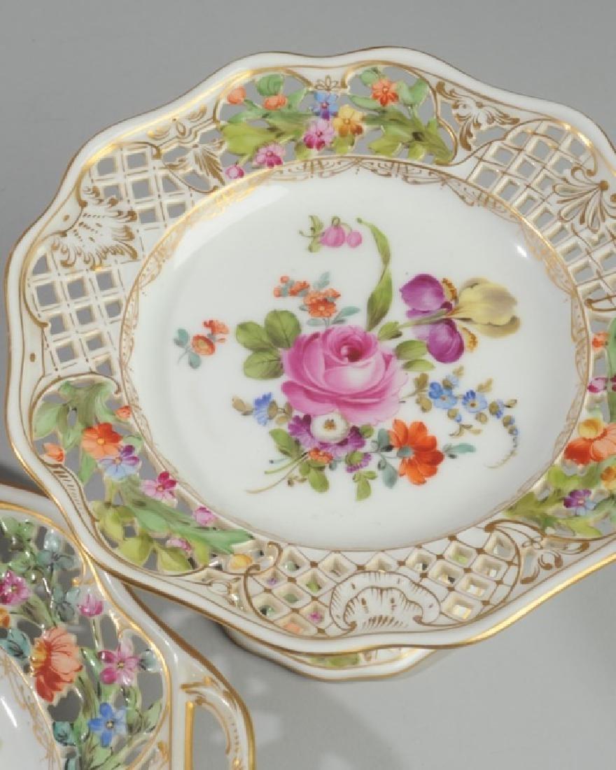 3 Pc. Carl Thieme Dresden Reticulated Porcelain - 3