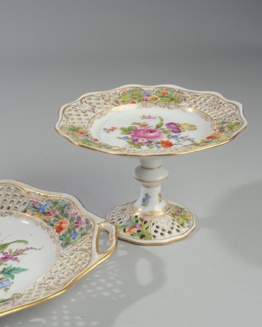 3 Pc. Carl Thieme Dresden Reticulated Porcelain - 4