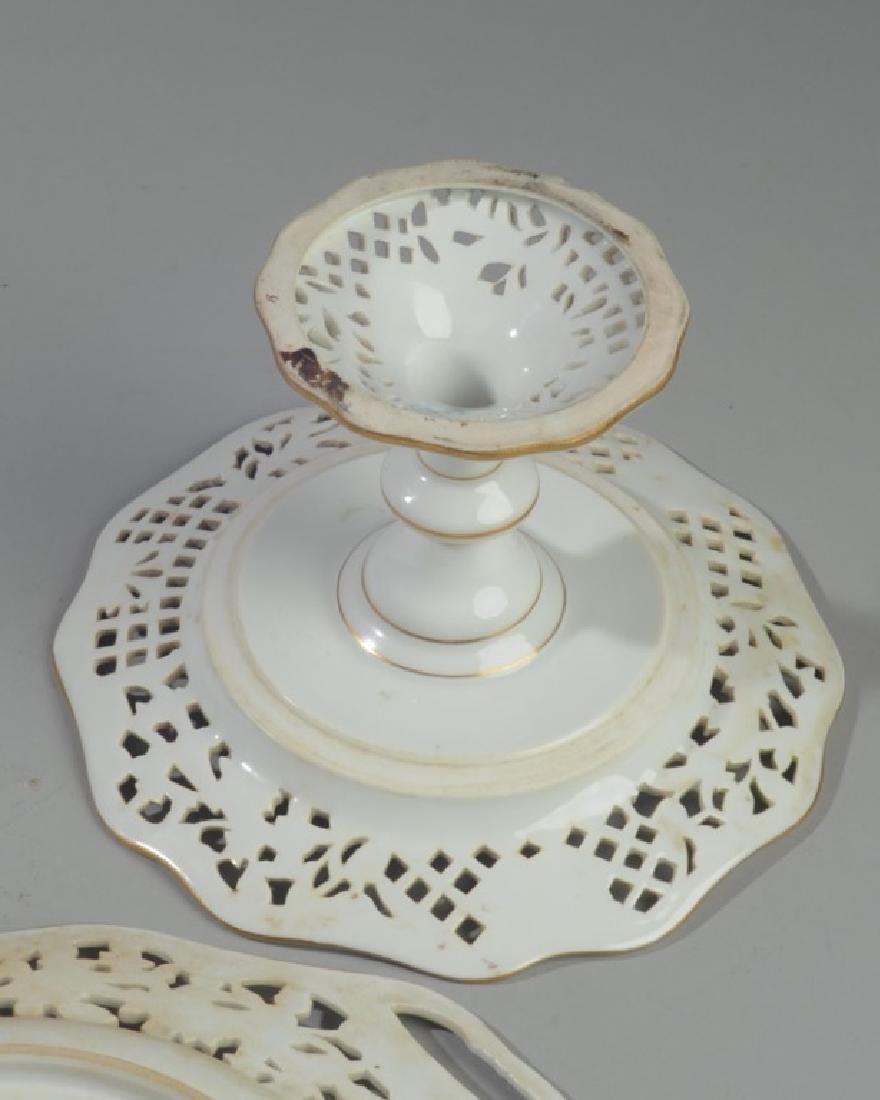 3 Pc. Carl Thieme Dresden Reticulated Porcelain - 7