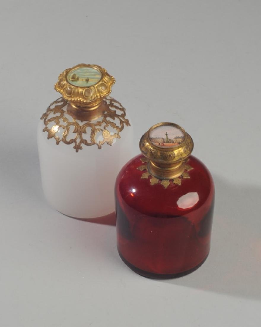 Antique French Opaline Grand Tour Perfume Bottles