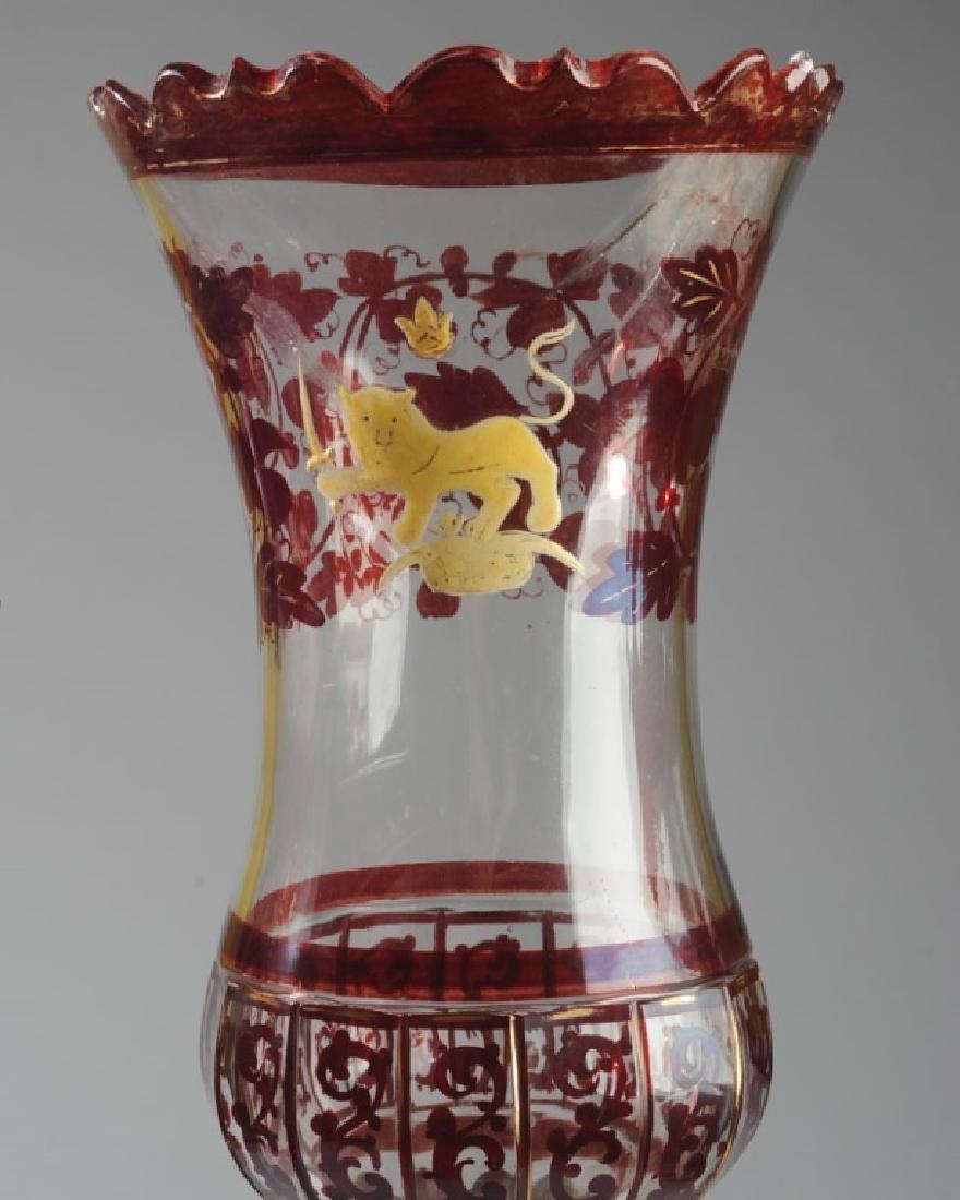 Set 19th C. Bohemian Ruby Glass Candlesticks - 2