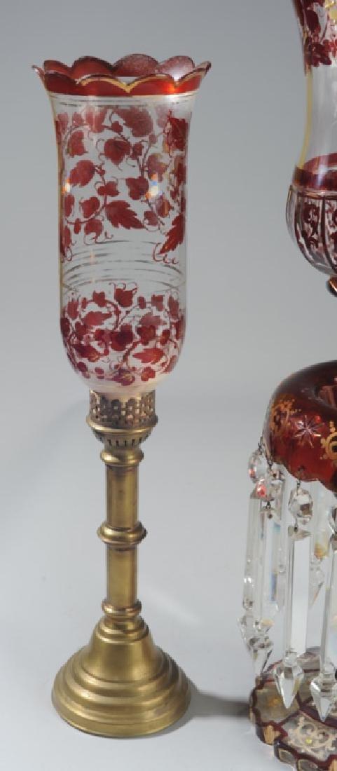 Set 19th C. Bohemian Ruby Glass Candlesticks - 5