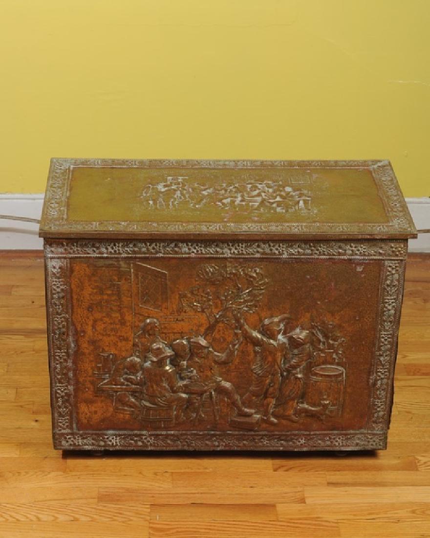 Vintage Embossed Brass & Wood Kindling Box