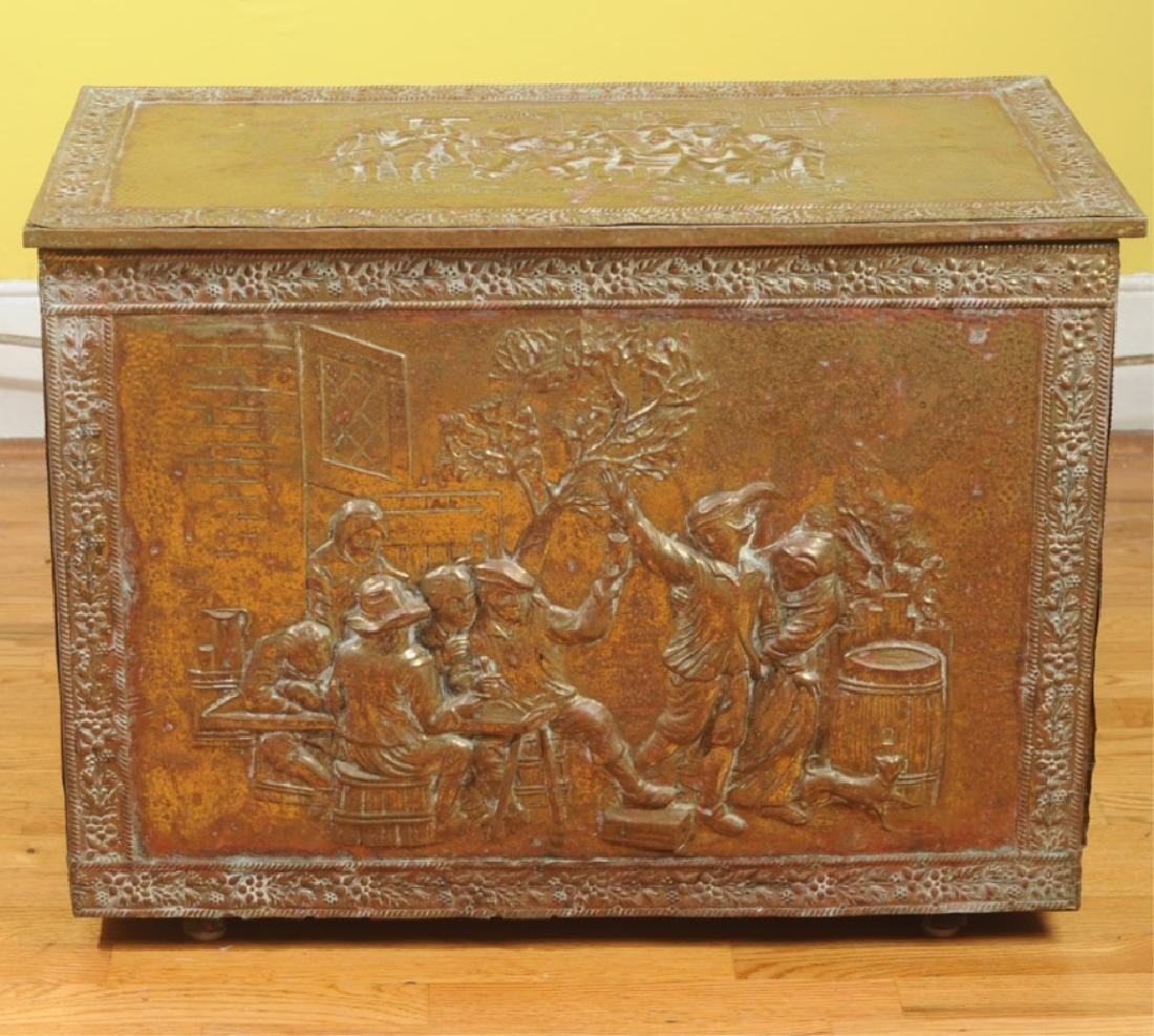 Vintage Embossed Brass & Wood Kindling Box - 2