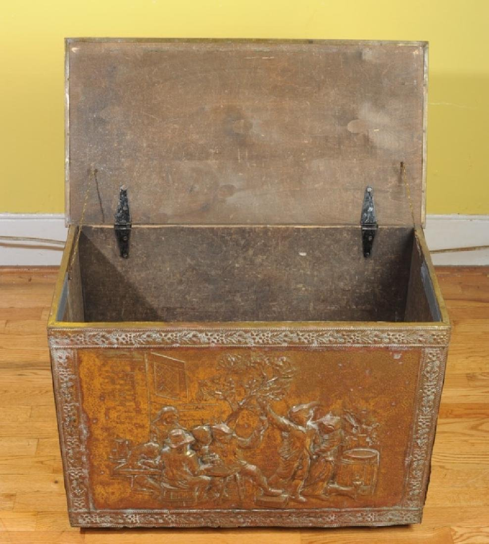 Vintage Embossed Brass & Wood Kindling Box - 4