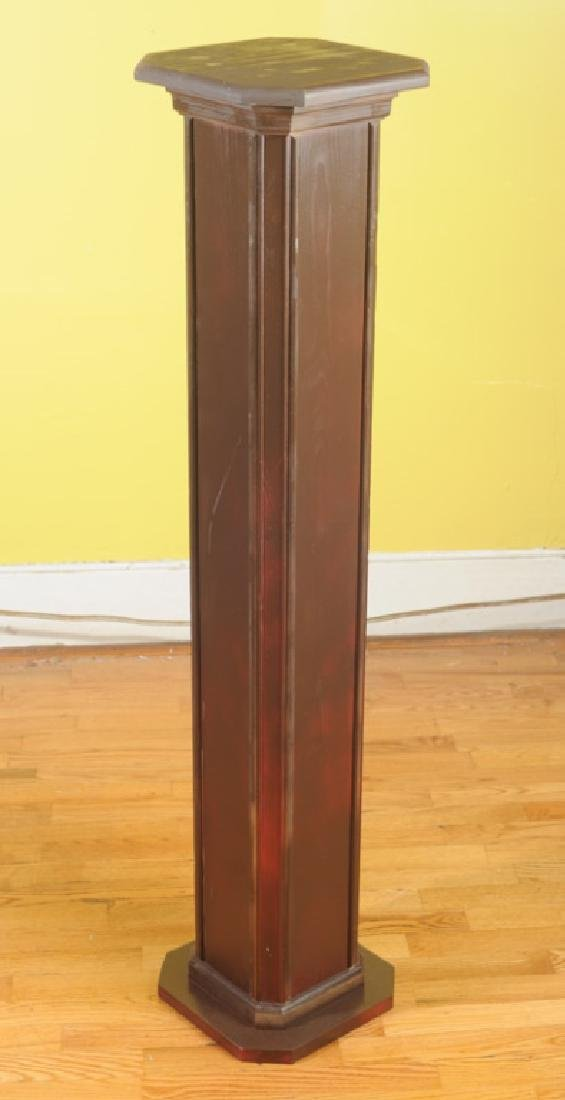 Contemporary Brown Painted Wooden Pedestal