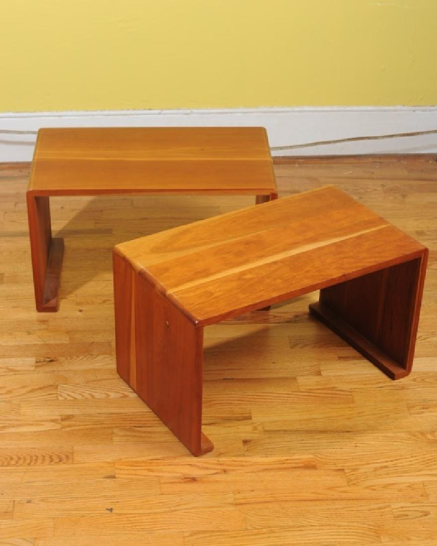 2 Michael Woodworth Mid Century Cherry Low Tables