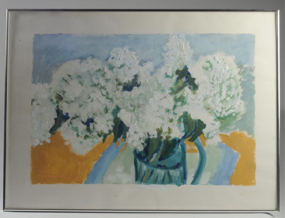 Framed Acrylic on Paper, White Hydrangea