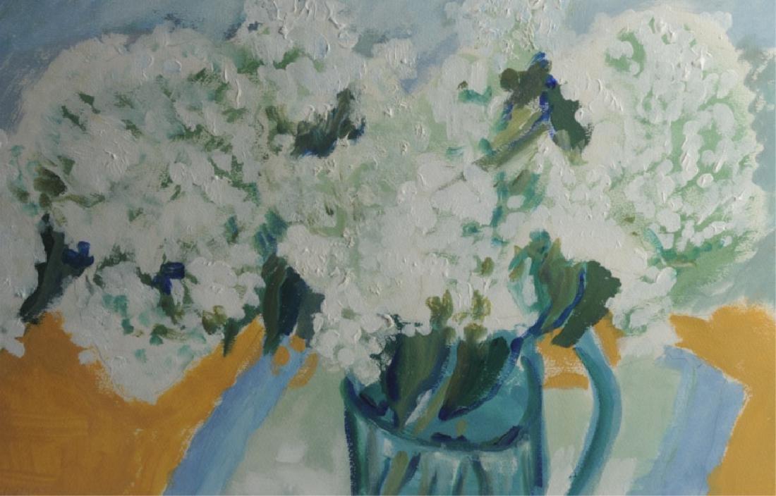 Framed Acrylic on Paper, White Hydrangea - 2
