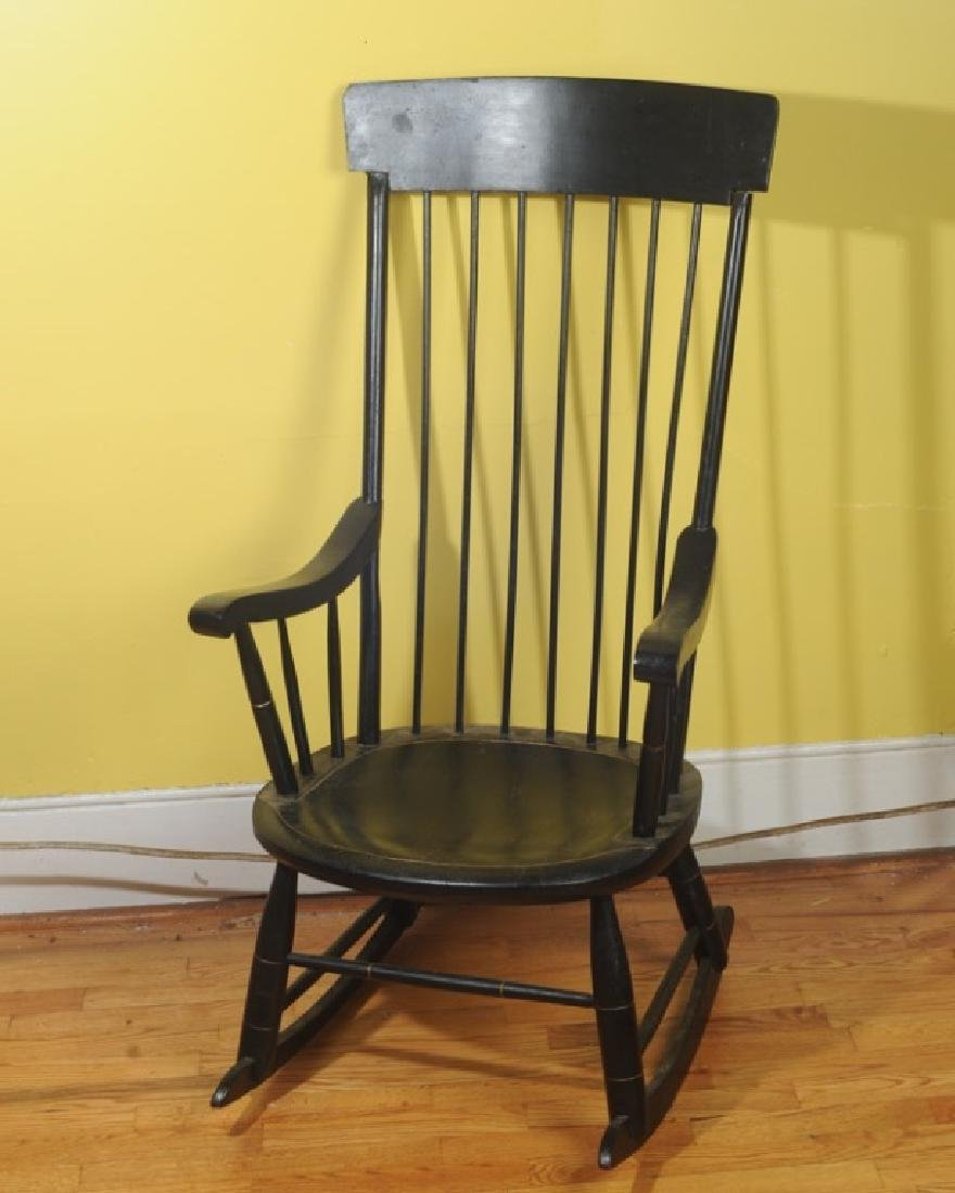Vintage Windsor Style Black Painted Rocking Chair