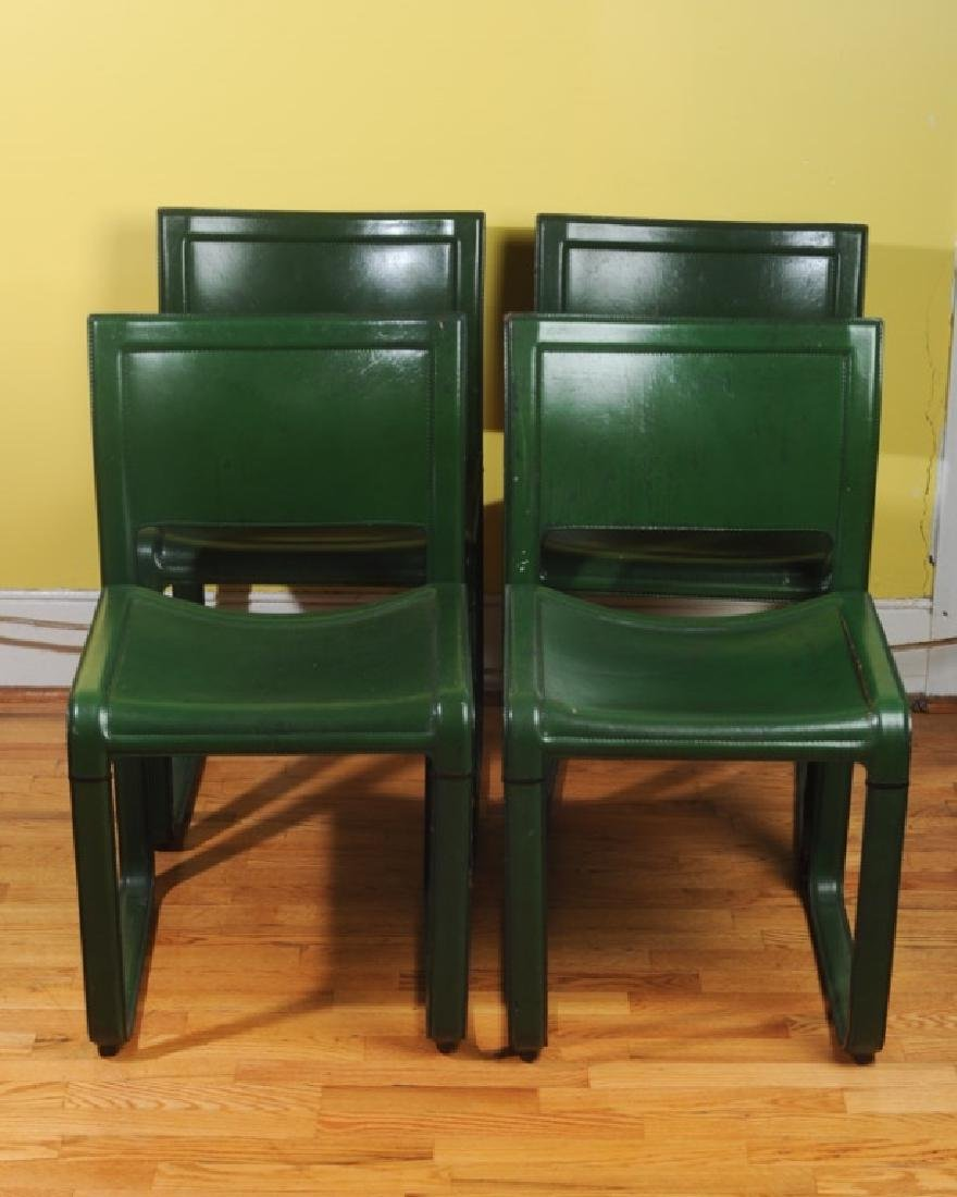 4 Mid Century Modern Design Green Leather Chairs