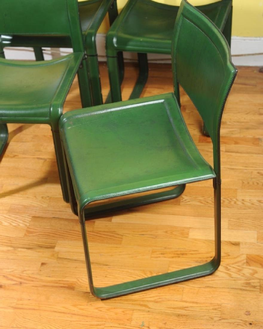4 Mid Century Modern Design Green Leather Chairs - 2
