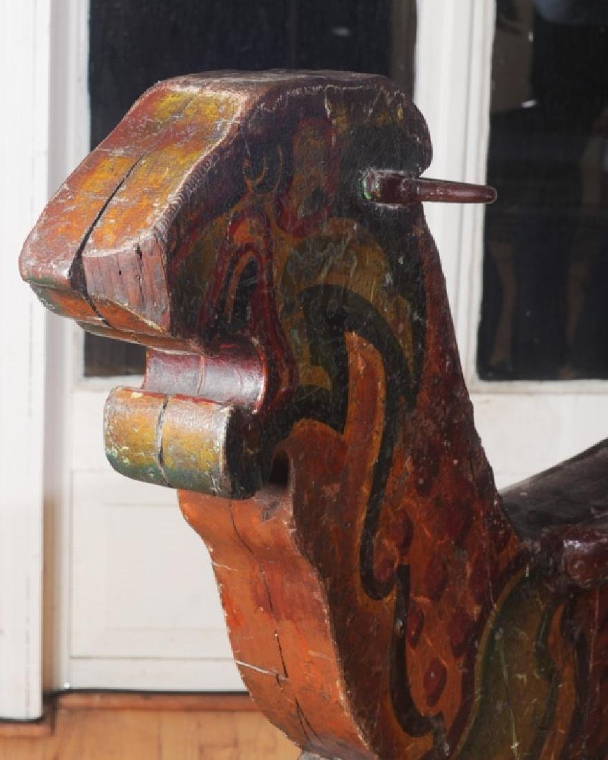 Antique Wooden Carousel Tiger - 5