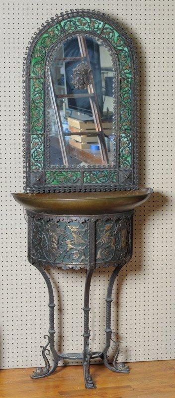 Gothic Revival Indoor Copper Fountain & Mirror