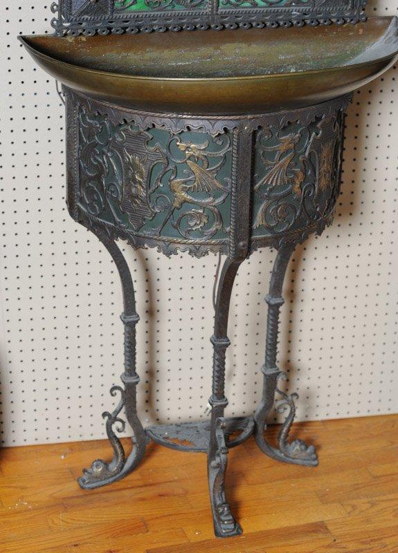 Gothic Revival Indoor Copper Fountain & Mirror - 3