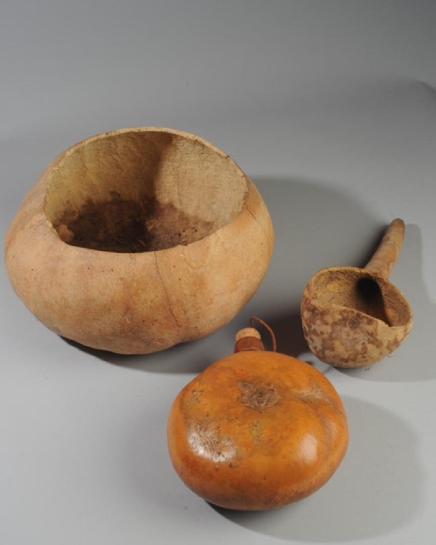 Primitive Style Carved Gourd Grouping
