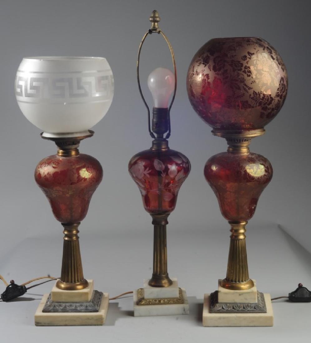 3 Antique Bohemian Ruby Glass Lamps