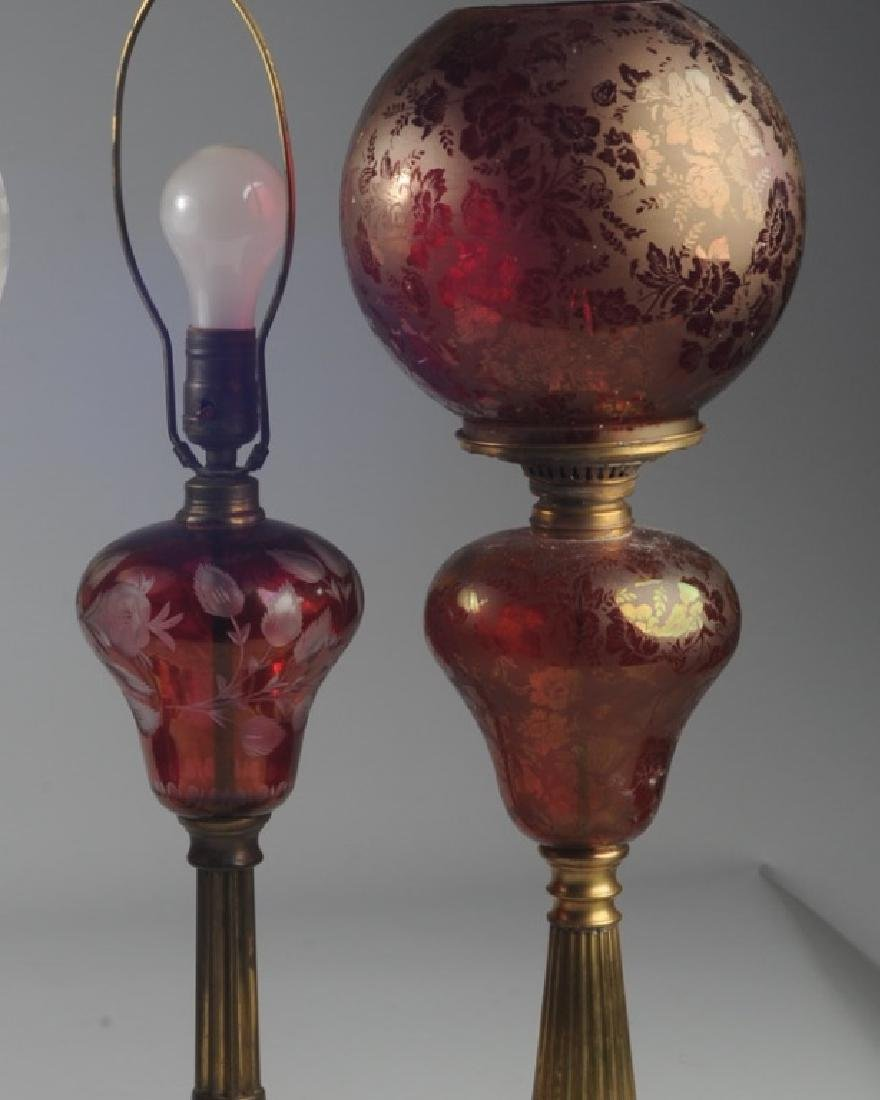 3 Antique Bohemian Ruby Glass Lamps - 2
