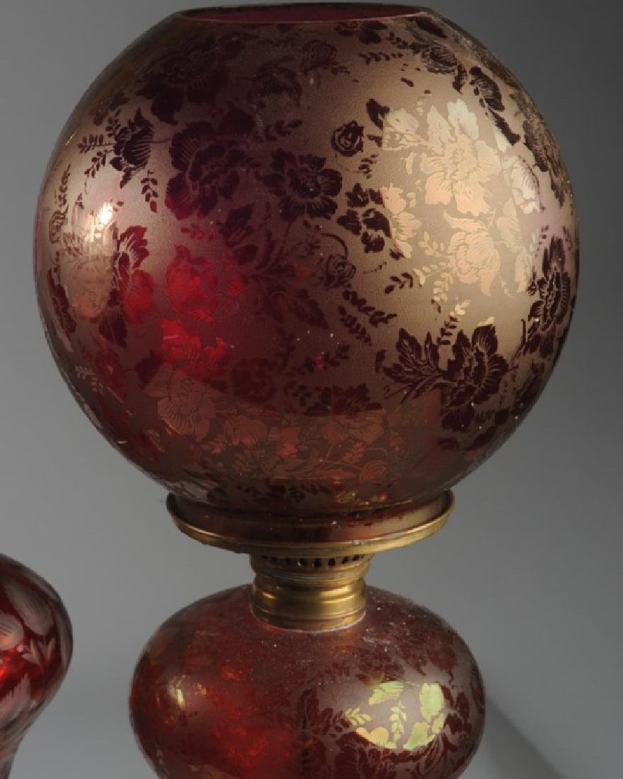 3 Antique Bohemian Ruby Glass Lamps - 3