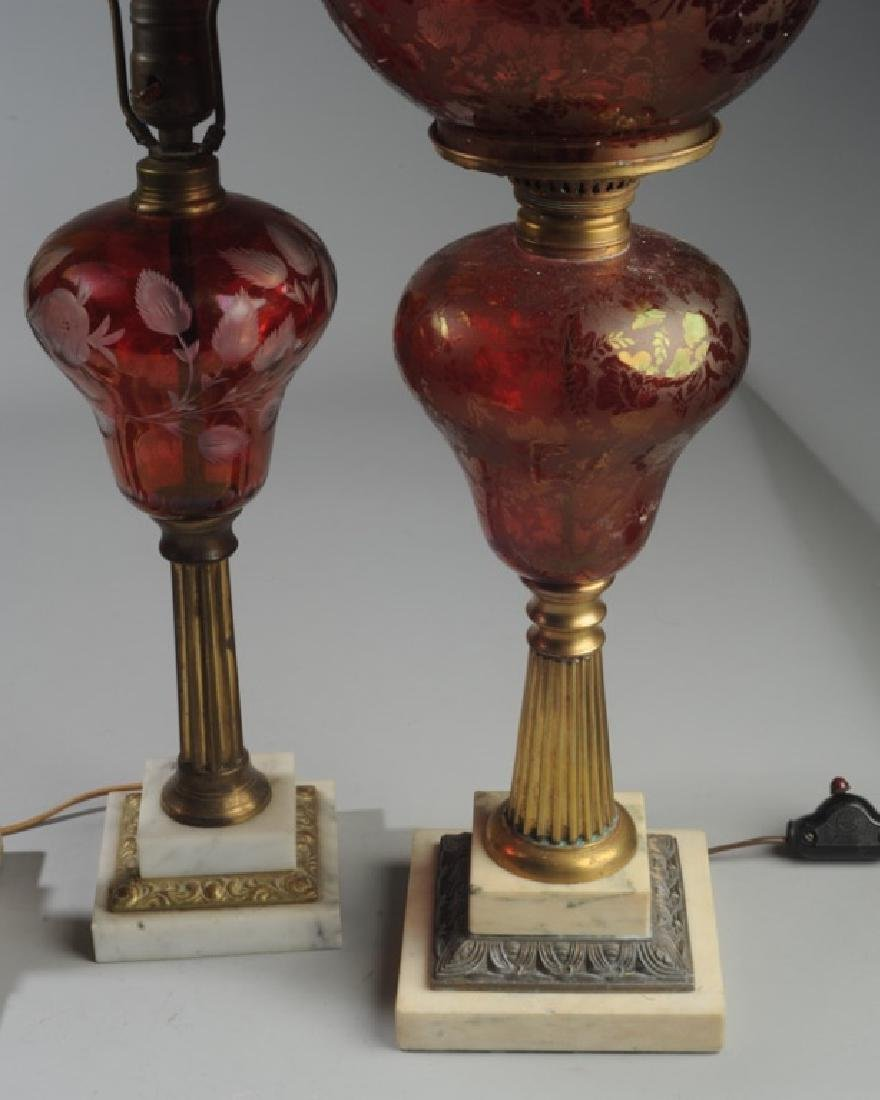 3 Antique Bohemian Ruby Glass Lamps - 4