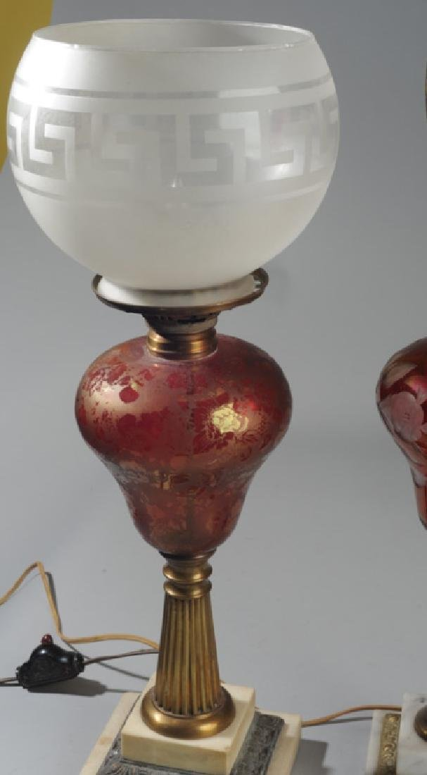 3 Antique Bohemian Ruby Glass Lamps - 5