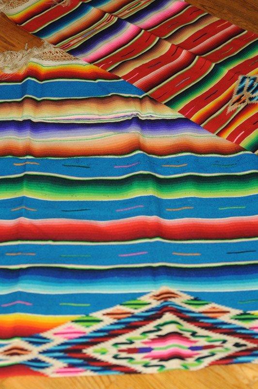 2 Vintage Mexican Saltillo Wool Serapes