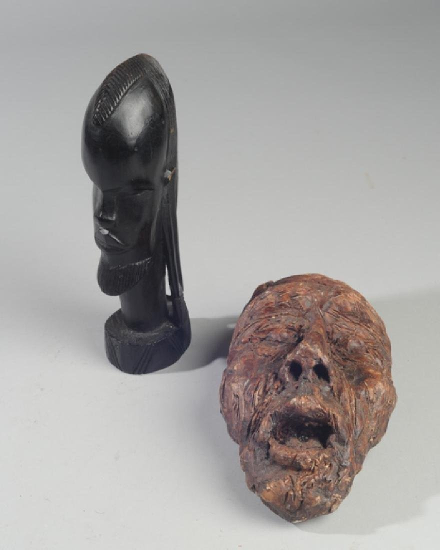 African Ebony and 20th C. Ceramic Sculptures